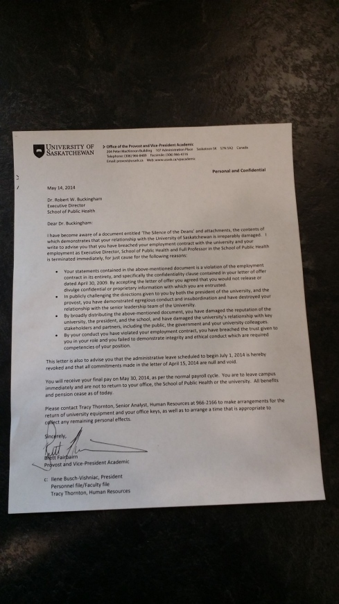 USask Provost Letter to Dr. Buckingham 14May14